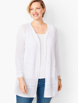 Plus Size Pointelle Open-Front Cardigan