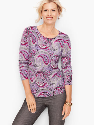 Gathered Shoulder Merino Sweater - Paisley