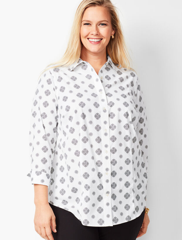 Plus Size Perfect Shirt - Three-Quarter Sleeves - Medallion