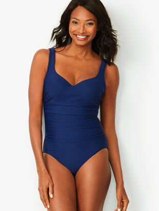Miraclesuit® Amici V-Neck One-Piece Swimsuit - Solid