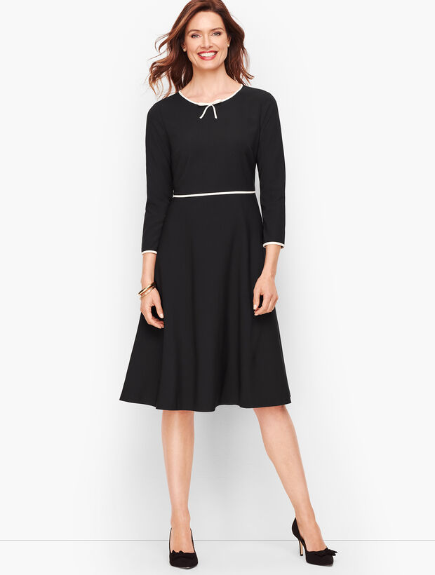 Tipped Colorblock Fit & Flare Dress