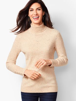 Button-Cuff Ribbed Turtleneck Sweater - Donegal