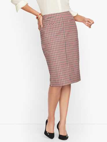 Gingham Twill Pencil Skirt