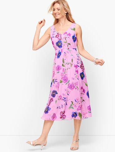 Georgette Botanical Fit & Flare Dress