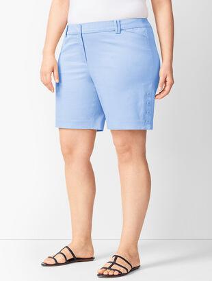 Button-Hem Shorts - Solid