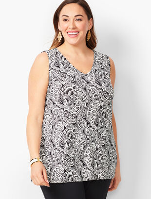 Plus-Size Knit Jersey Layering Shell - Paisley