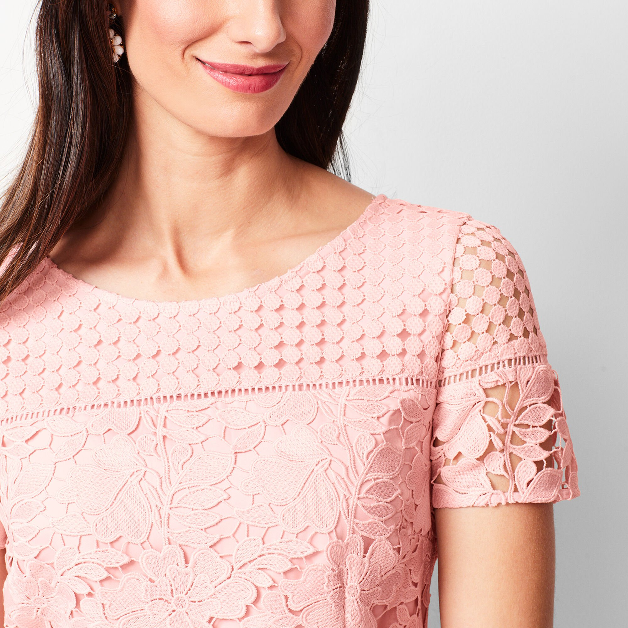 Mixed Lace Fit Amp Flare Dress