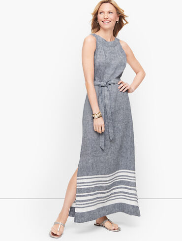 Stripe Linen Maxi Dress