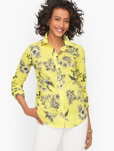 Classic Cotton Shirt - Sketched Floral