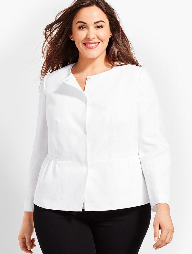Linen Peplum Double-Weave Jacket