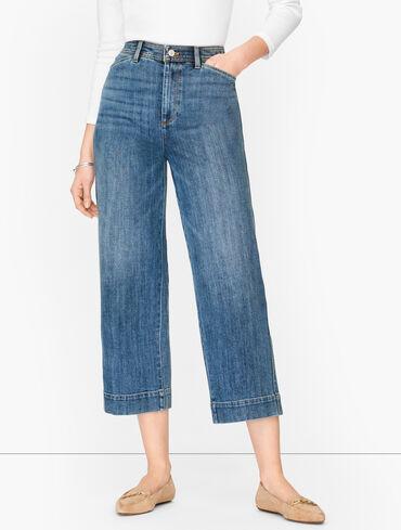Wide Leg Crop Jeans - Cay Wash