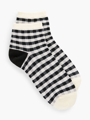 Gingham Black Crew Socks