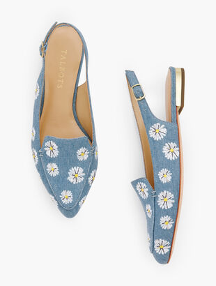 Poppy Pointed Toe Slingbacks - Denim Daisy Print