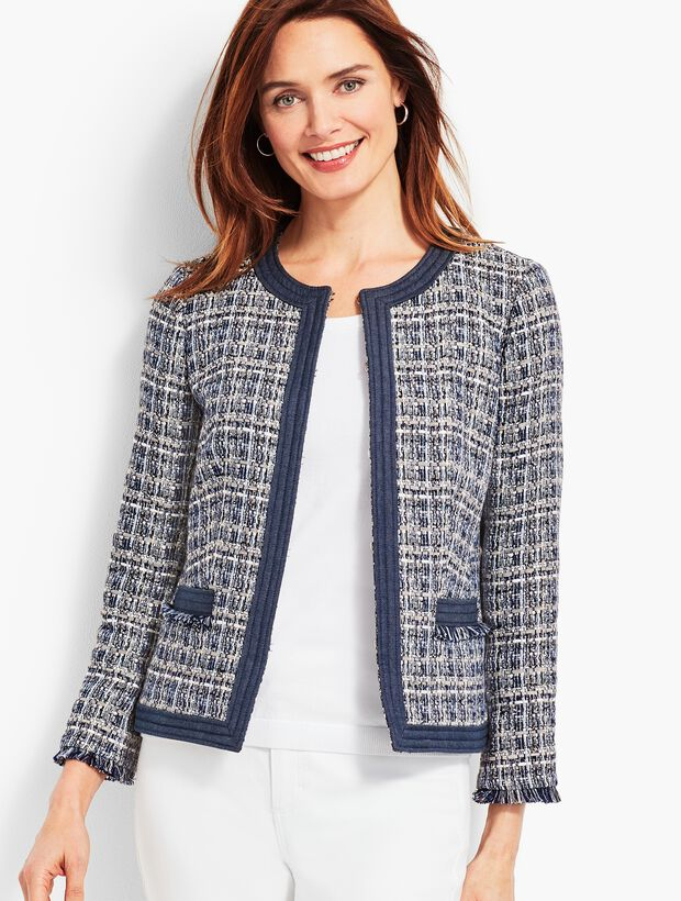Chambray-Trim Tweed Jacket