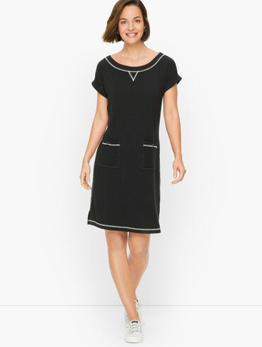 French Terry Keyhole Back T-Shirt Dress