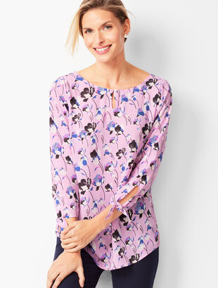Tie-Sleeve Blouse - Floral