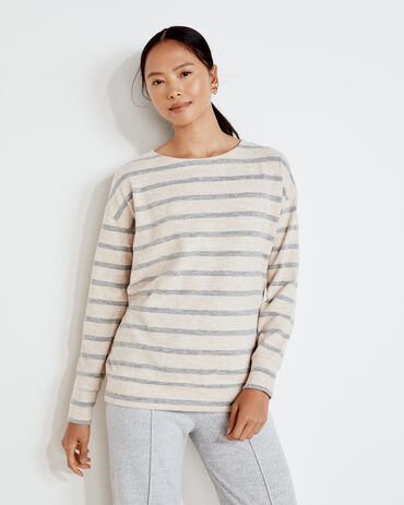 Marled Knit Striped Boat Neck Top