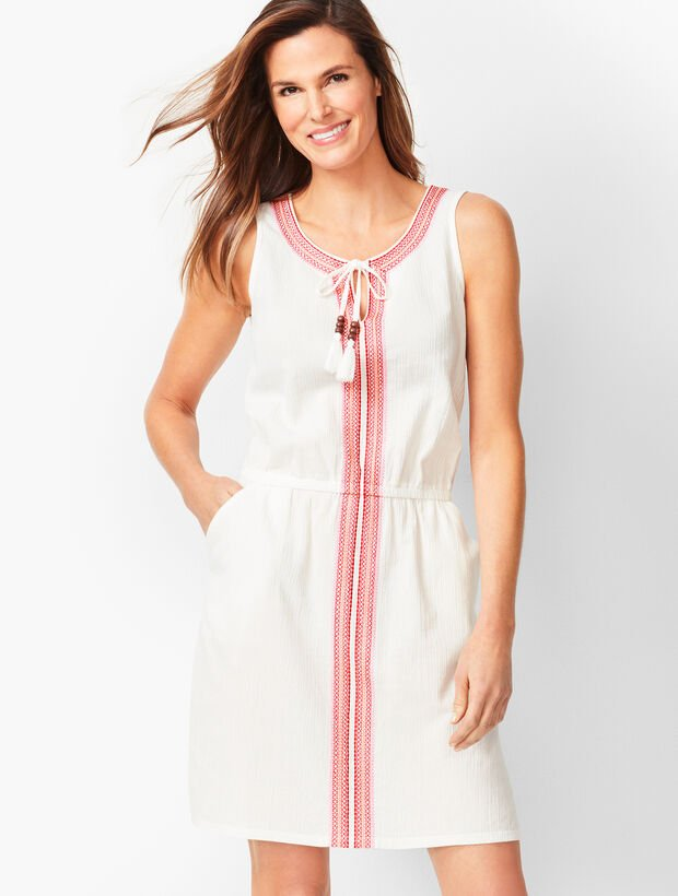 Embroidered Split Neck Cover-Up