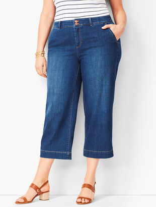 Denim Wide-Leg Crops - Star Wash