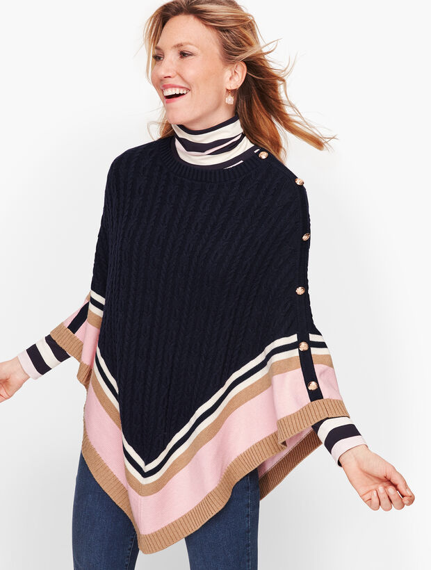 Colorblock Cableknit Poncho