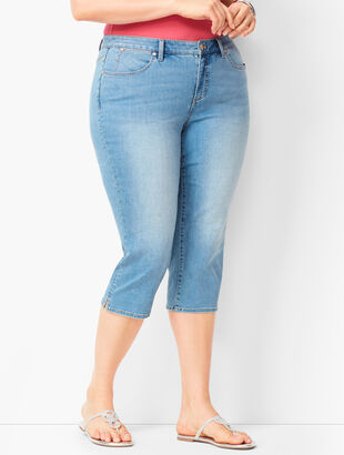 Plus Size Denim Pedal Pushers -  Barrow Wash