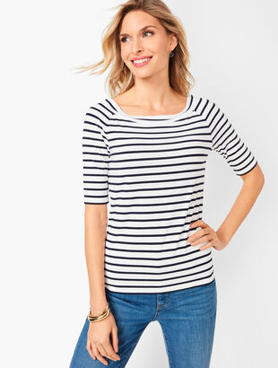 Wide Band Platinum Jersey Tee - Stripe