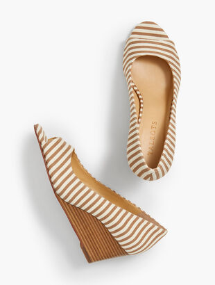 Royce Peep-Toe Wedges - Corded Stripe