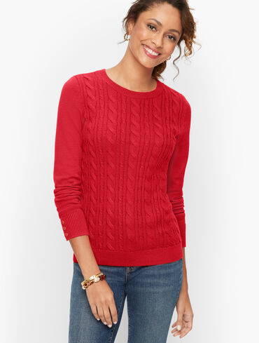 Button Cuff Cable Knit Sweater