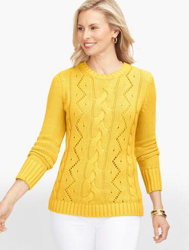 Cableknit Crewneck Sweater