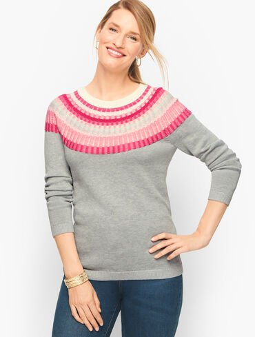 Rib Yoke Crewneck Sweater