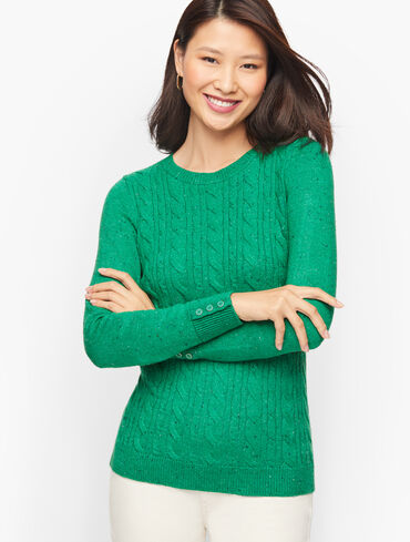 Button Cuff Cable Knit Tweed Sweater