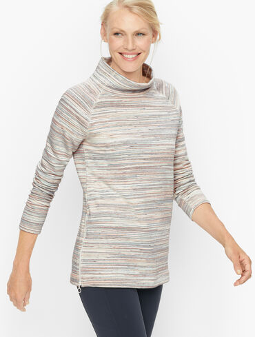 Featherweight Fleece Zip Hem Pullover - Space Dye Stripe