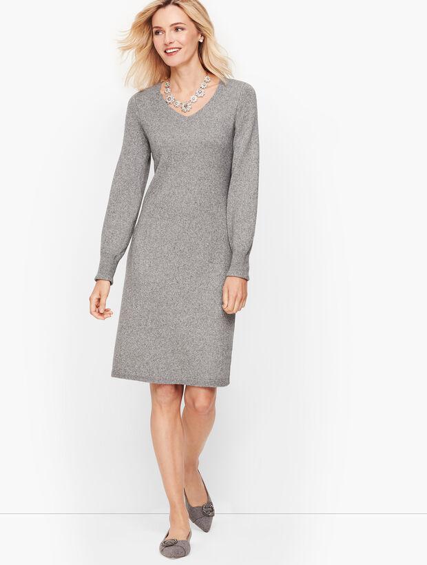 Poet Sleeve Shimmer Sweater Dress
