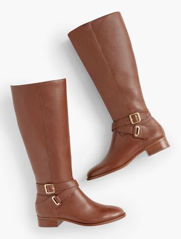Tish Pebbled Leather Riding Boots