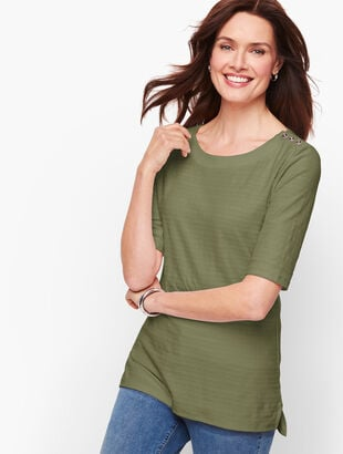 Button Shoulder Tee - Textured Stripe
