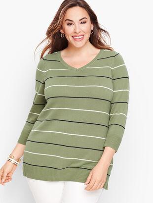 Double V Tie Back Sweater - Stripe
