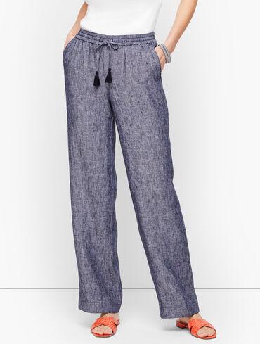Linen Wide Leg Pants - Cross-Dyed