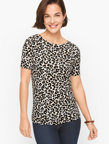 Open Neck Pullover - Abstract Cheetah