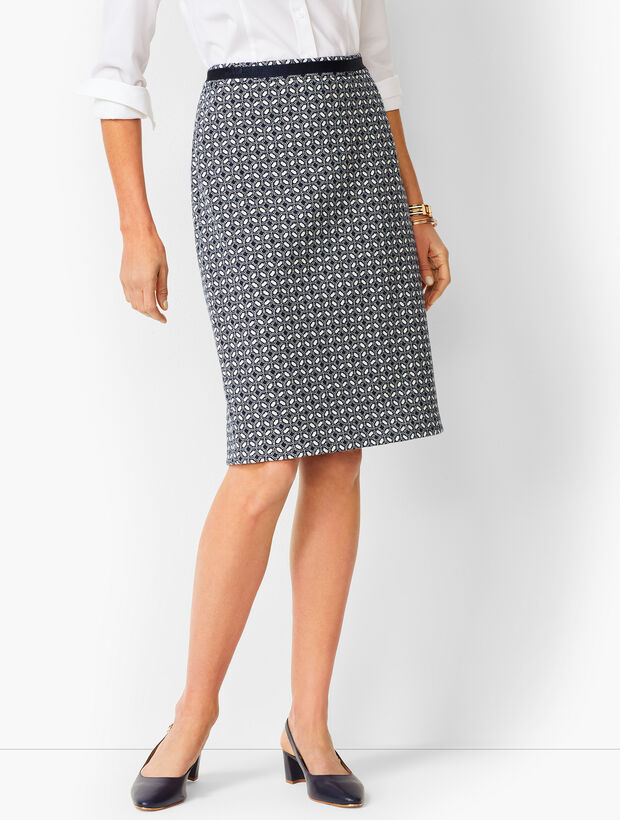 Grosgrain-Trim Jacquard Pencil Skirt