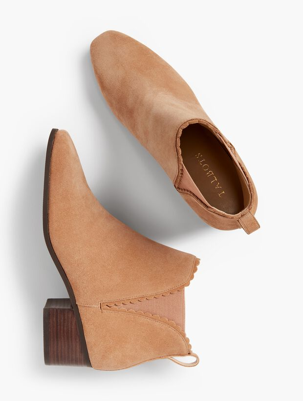 Dakota Suede Scallop-Edge Ankle Boot