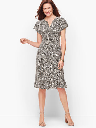 Leopard Flutter Sleeve A-Line Dress