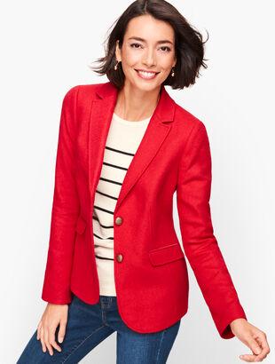 Shetland Wool Blazer - Red Pop