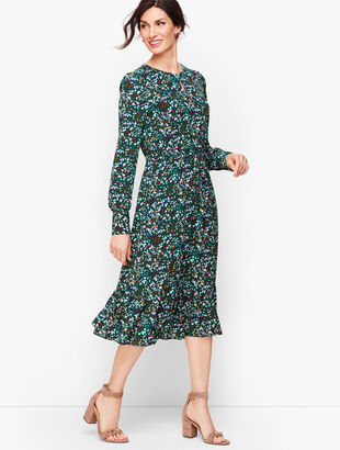 Flowing Flounce Hem Fit & Flare Dress - Flowers