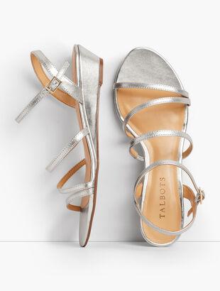 Capri Multi-Strap Mini-Wedge Sandals - Metallic