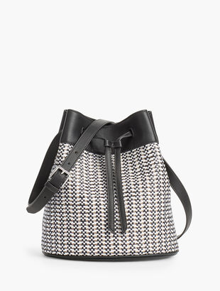 Drawstring Faux-Leather Bucket Bag