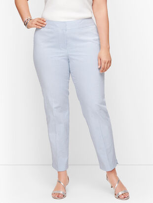 Plus Size Exclusive Seersucker Slim Ankle Pants