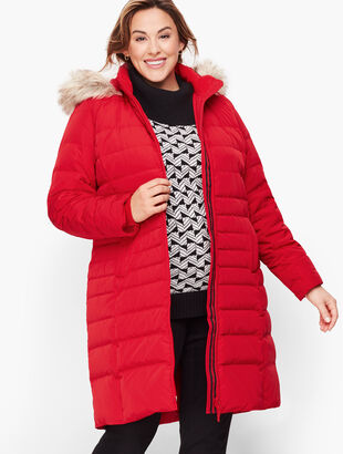 Down Puffer Coat With Faux Fur Trim Hood