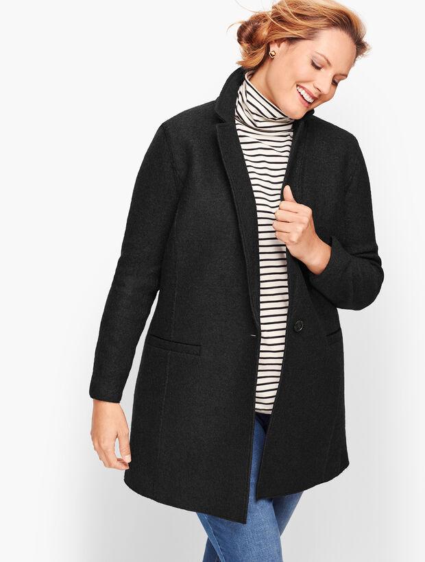Plus Size Long Boiled Wool Jacket