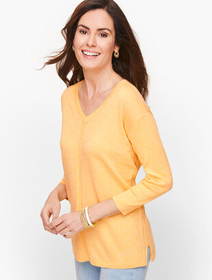Cotton V-Neck Sweater - Marled