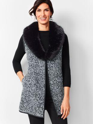 Fur-Trim Bouclé Vest